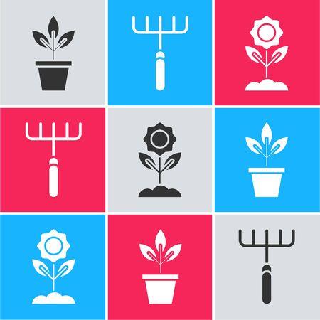 Set Flowers in pot, Garden rake and Flower icon. Vector