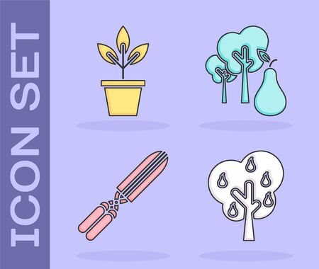 Set Tree with pears, Flowers in pot, Gardening handmade scissors for trimming and Tree with pears icon. Vector Illusztráció