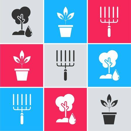 Set Watering Tree, Flowers in pot and Garden rake in work icon. Vector Illusztráció