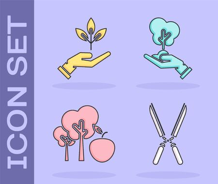 Set Gardening handmade scissors for trimming, Plant in hand of environmental protection, Tree with apple and Tree in hand of environmental protection icon. Vector