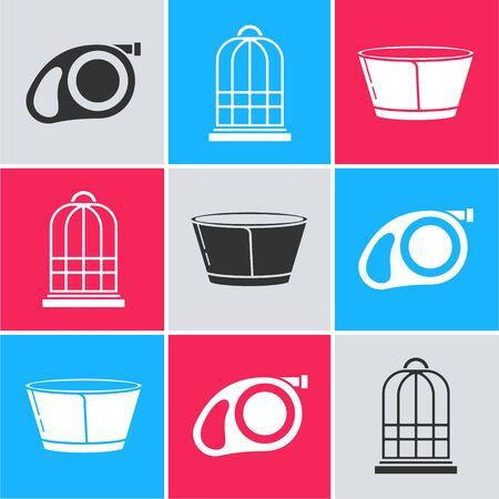 Set Retractable cord leash with carabiner, Cage for birds and Protective cone collar icon. Vector 版權商用圖片 - 137831668