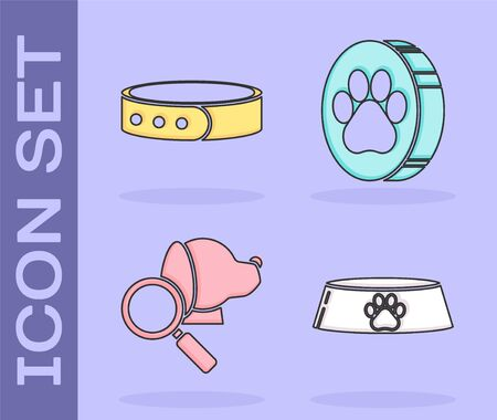 Set Pet food bowl for cat or dog, Collar with name tag, Veterinary clinic symbol and Paw print icon. Vector Vettoriali