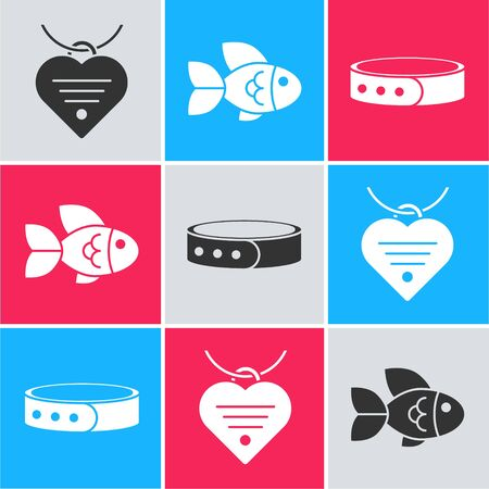 Set Collar with name tag and heart, Fish and Collar with name tag icon. Vector