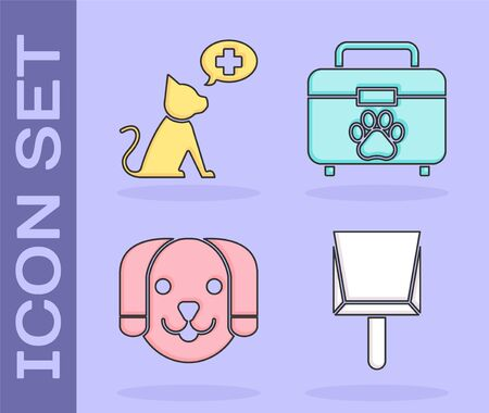 Set Dustpan, Veterinary clinic symbol, Dog and Pet first aid kit icon. Vector