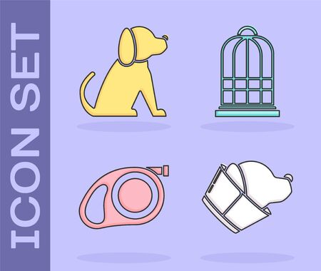 Set Veterinary clinic symbol, Dog, Retractable cord leash with carabiner and Cage for birds icon. Vector