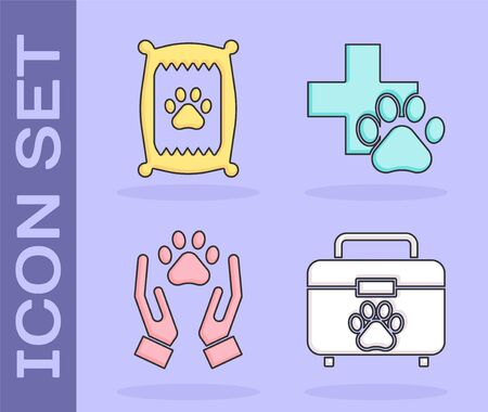 Set Pet first aid kit, Bag of food for dog, Hands with animals footprint and Veterinary clinic symbol icon. Vector Ilustracja