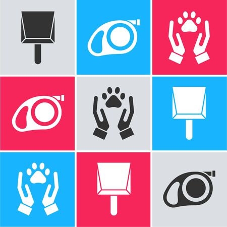 Set Dustpan, Retractable cord leash with carabiner and Hands with animals footprint icon. Vector