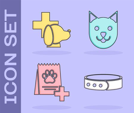 Set Collar with name tag, Veterinary clinic symbol, Bag of food for dog and Cat icon. Vector 向量圖像