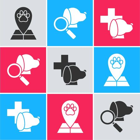 Set Map pointer with veterinary medicine hospital, Veterinary clinic symbol and Veterinary clinic symbol icon. Vector