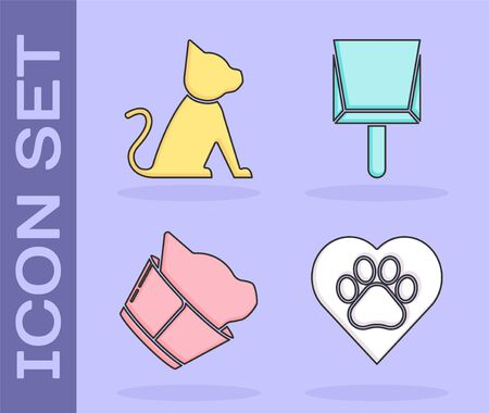 Set Heart with animals footprint, Cat, Veterinary clinic symbol and Dustpan icon. Vector