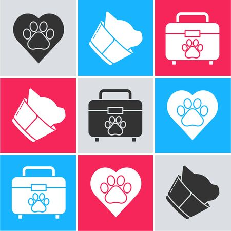 Set Heart with animals footprint, Veterinary clinic symbol and Pet first aid kit icon. Vector