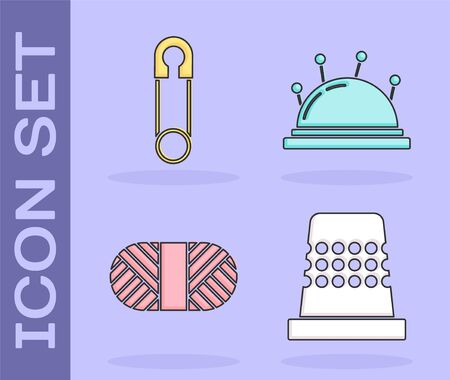 Set Thimble for sewing, Classic closed steel safety pin, Sewing thread on spool and Needle bed and needles icon. Vector Çizim
