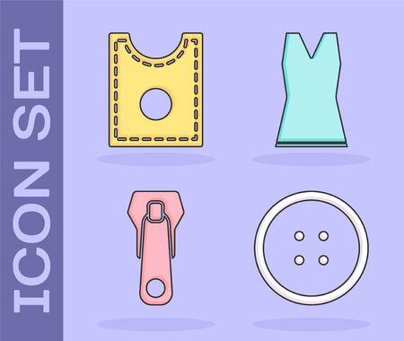 Set Sewing button for clothes, Sewing Pattern, Zipper and Woman dress icon. Vector