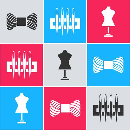 Set Sewing thread on spool, Needle for sewing and Mannequin icon. Vector