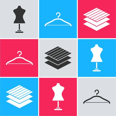 Set Mannequin, Hanger wardrobe and Textile fabric roll icon. Vector