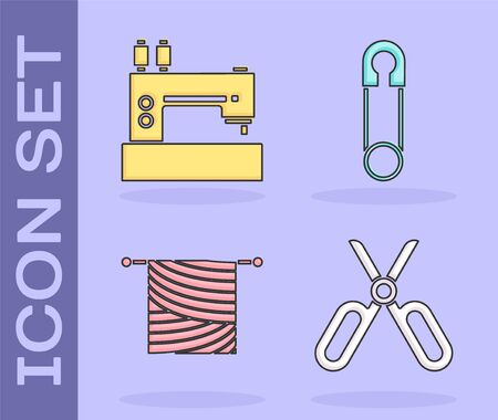 Set Scissors, Sewing machine, Knitting and Classic closed steel safety pin icon. Vector Çizim
