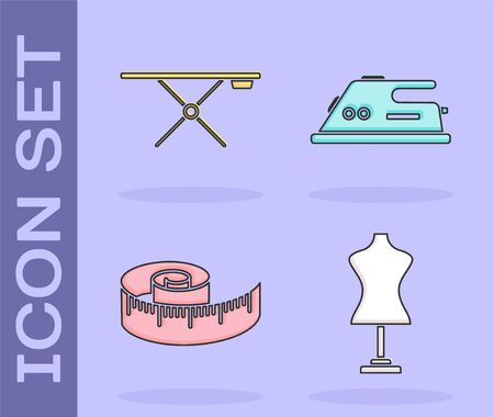 Set Mannequin, Ironing board, Tape measure and Electric iron icon. Vector