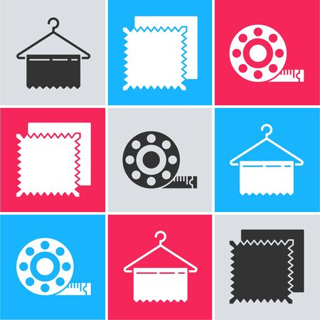 Set Hanger wardrobe, Textile fabric roll and Tape measure icon. Vector Stock Illustratie