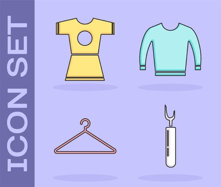 Set Cutter tool, Woman dress, Hanger wardrobe and Sweater icon. Vector Archivio Fotografico - 137834118