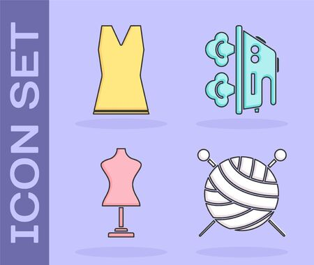 Set Yarn ball with knitting needles, Woman dress, Mannequin and Electric iron icon. Vector