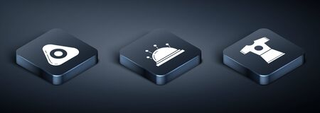 Set Isometric Sewing chalk, Woman dress and Needle bed and needles icon. Vector 矢量图像