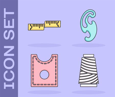 Set Sewing thread on spool, Tape measure, Sewing Pattern and French curves icon. Vector