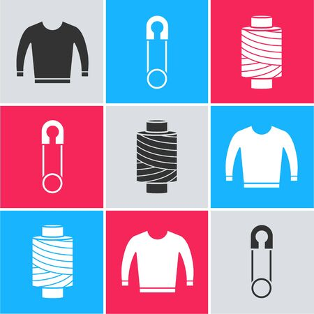 Set Sweater, Classic closed steel safety pin and Sewing thread on spool icon. Vector