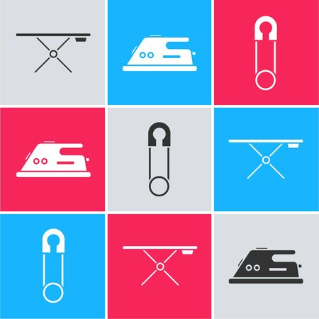Set Ironing board, Electric iron and Classic closed steel safety pin icon. Vector