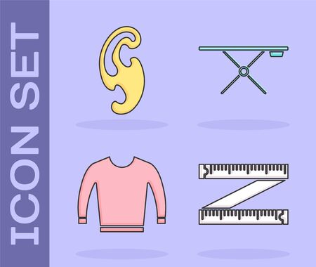 Set Tape measure, French curves, Sweater and Ironing board icon. Vector Archivio Fotografico - 137834308