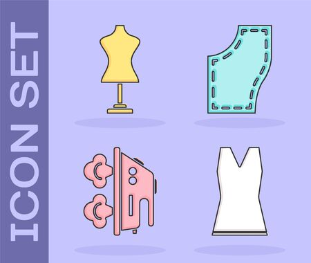 Set Woman dress, Mannequin, Electric iron and Sewing Pattern icon. Vector Ilustração