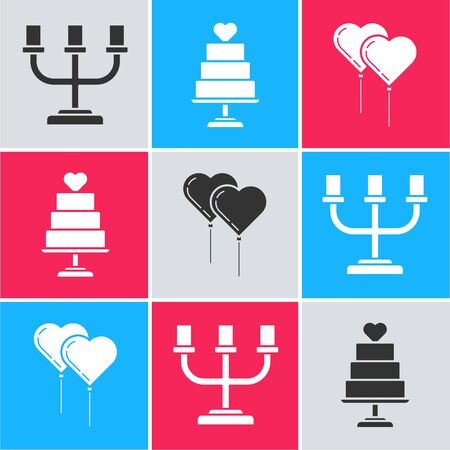 Set Candlestick, Wedding cake with heart and Balloons in form of heart with ribbon icon. Vector Imagens - 137832941