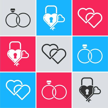 Set Wedding rings, Castle in the shape of a heart and key and Two Linked Hearts icon. Vector 일러스트