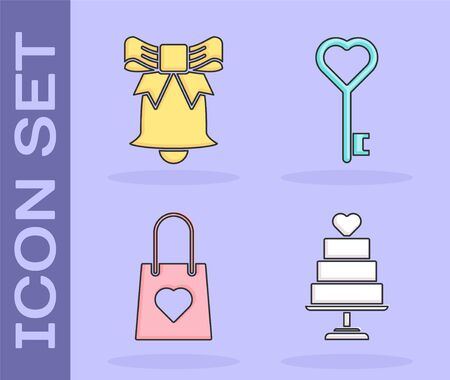 Set Wedding cake with heart, Ringing bell, Shopping bag with heart and Key in heart shape icon. Vector