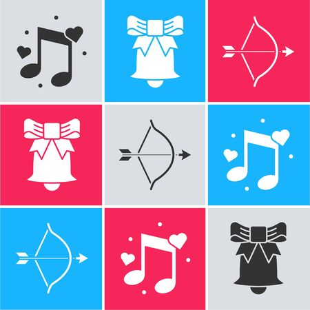 Set Music note, tone with hearts, Ringing bell and Bow and arrow icon. Vector  イラスト・ベクター素材