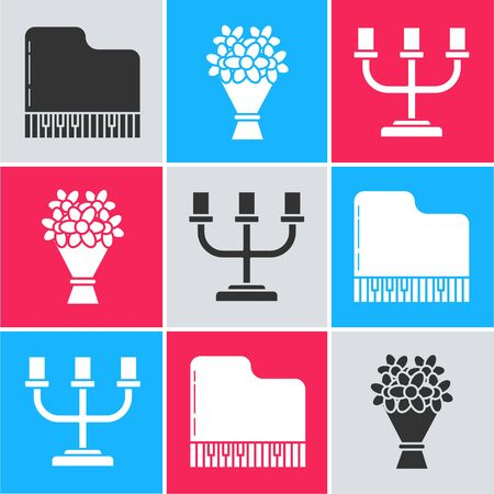 Set Grand piano, Bouquet of flowers and Candlestick icon. Vector