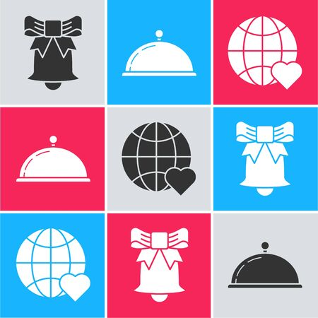 Set Ringing bell, Covered with a tray of food and The heart world love icon. Vector