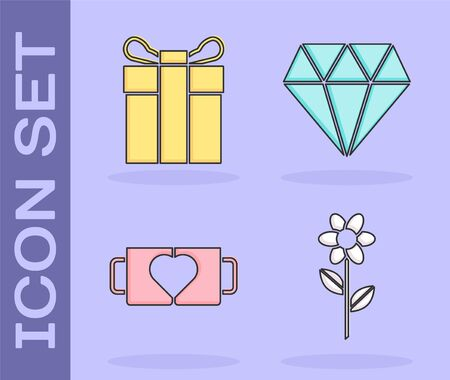 Set Flower, Gift box, Two coffee cup and heart and Diamond icon. Vector Illusztráció