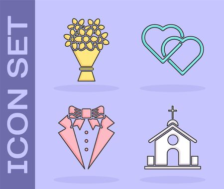 Set Church building, Bouquet of flowers, Suit and Two Linked Hearts icon. Vector