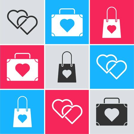 Set Two Linked Hearts, Suitcase for travel with heart and Shopping bag with heart icon. Vector