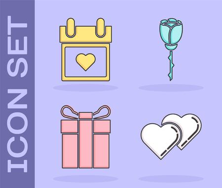Set Two Linked Hearts, Calendar with heart, Gift box and Flower rose icon. Vector 일러스트