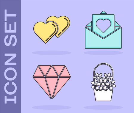 Set Flowers in a basket, Two Linked Hearts, Diamond and Envelope with Valentine heart icon. Vector