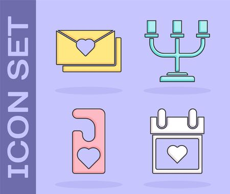 Set Calendar with heart, Envelope with Valentine heart, Please do not disturb with heart and Candlestick icon. Vector