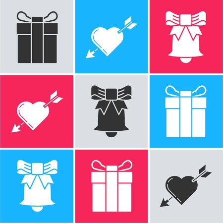 Set Gift box, Amour symbol with heart and arrow and Ringing bell icon. Vector