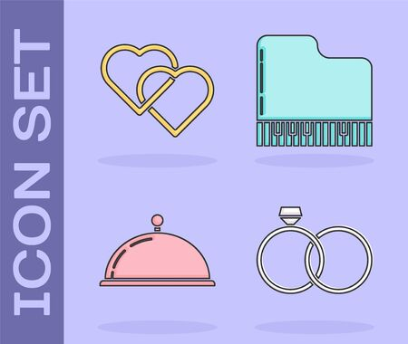 Set Wedding rings, Two Linked Hearts, Covered with a tray of food and Grand piano icon. Vector 일러스트