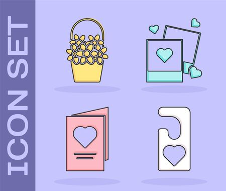Set Please do not disturb with heart, Flowers in a basket, Valentines day party flyer with heart and Two blanks photo frames and hearts icon. Vector