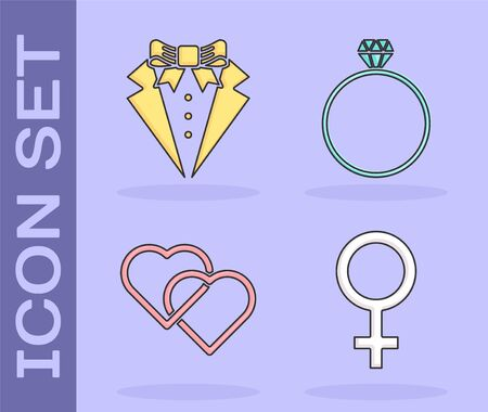 Set Female gender symbol, Suit, Two Linked Hearts and Diamond engagement ring icon. Vector