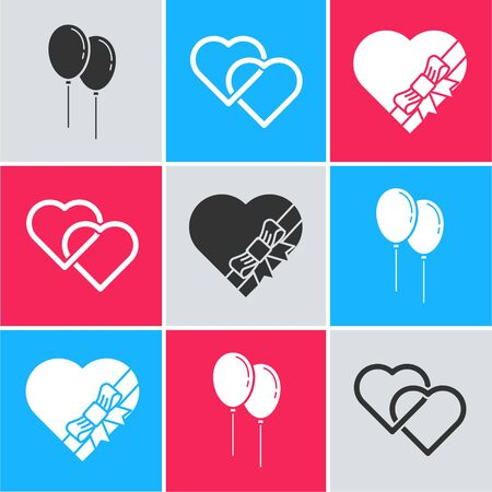 Set Balloons with ribbon, Two Linked Hearts and Candy in heart shaped box and bow icon. Vector 일러스트