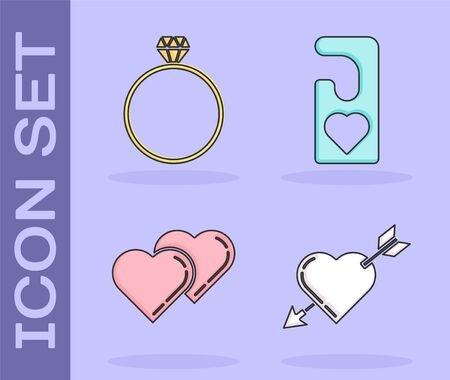 Set Amour symbol with heart and arrow, Diamond engagement ring, Two Linked Hearts and Please do not disturb with heart icon. Vector 일러스트
