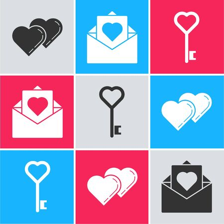 Set Two Linked Hearts, Envelope with Valentine heart and Key in heart shape icon. Vector 일러스트
