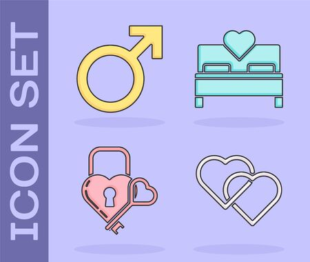 Set Two Linked Hearts, Male gender symbol, Castle in the shape of a heart and key and Bedroom icon. Vector 일러스트